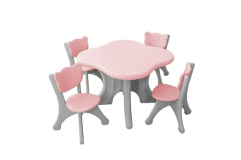 Kidbot 5-Piece Childrens Table and Chairs Set Children Activity Play Study Desk Pink Plastic Furniture