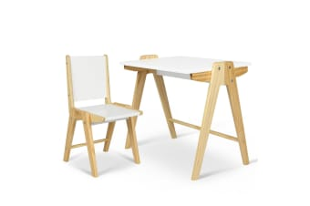 Kids Table Chair Set Study Desk Dining Toy Play Writing  Drawing White