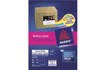 AVERY L7767-25 200X289MM COL LAS 25SHT