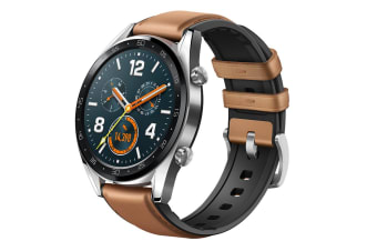 Huawei Watch GT Smart Watch (Stainless Steel with Brown Leather Strap)