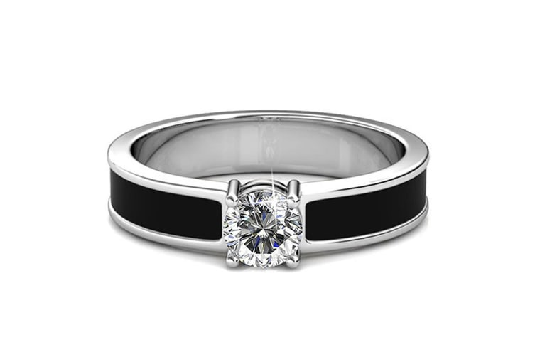 Marian Solitaire Ring Embellished with Swarovski crystals Size US 7