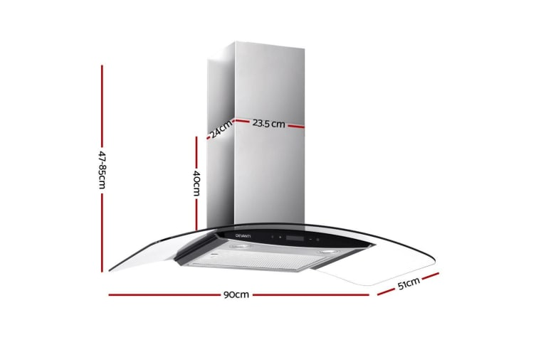 Devanti Commercial Rangehood Range Hood Stainless Kitchen Canopy 90cm 900mm