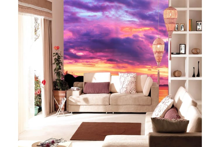 Colorful Sunset Glow Woven paper (need glue), XXXL 416cm x 254cm (HxW)(164''x100'')
