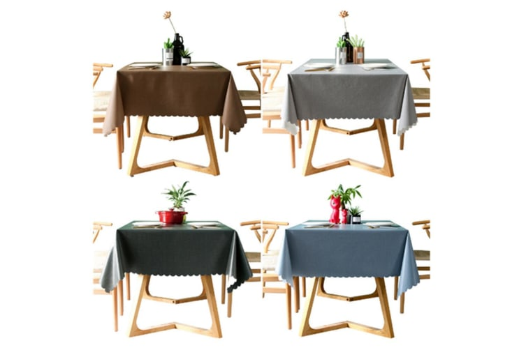 Pvc Waterproof Tablecloth Oil Proof And Wash Free Rectangular Table Cloth Coffee 90*140Cm