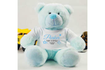 1st Birthday Personalised Blue Teddy Bear Plush