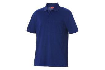 Hard Yakka Men's Foundations Pique Short Sleeve Polo (Royal, Size S)