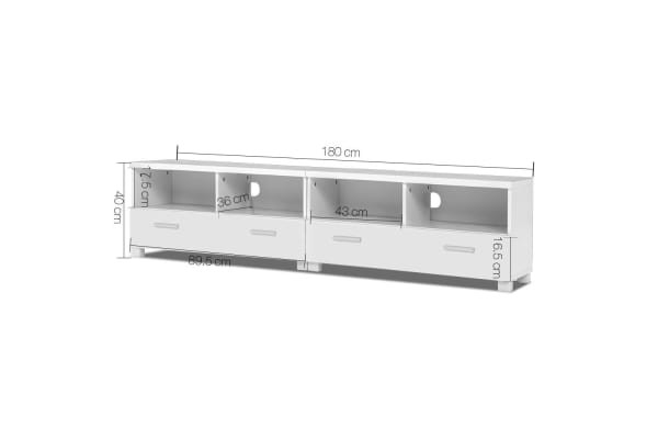 TV Stand Entertainment Unit with Drawers (White)