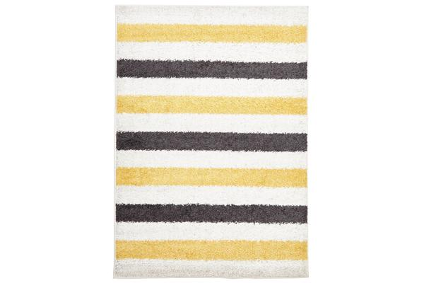 Stencil Shag Rug Yellow Charcoal White 330x240cm