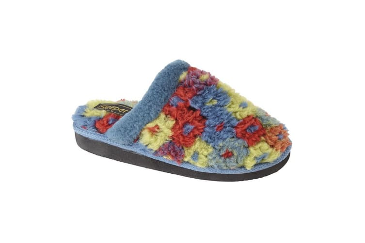 Sleepers Womens/Ladies Karlie Floral Thermal Lined Mule Slippers (Azul Blue) (3 UK)
