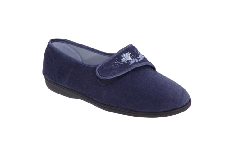 Sleepers Womens/Ladies Jolene Touch Fastening Embroidered Slippers (Navy Blue) (3 UK)