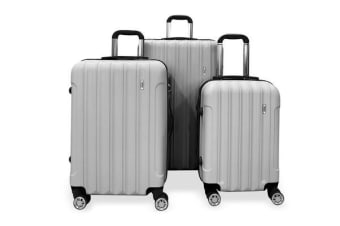 Todo Ultra Light Luggage Set 3Pcs Hard Shell Combination Locks Silver