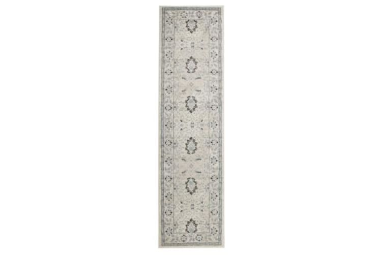 Nain Persian Design Rug Bone Blue Navy 500x80cm