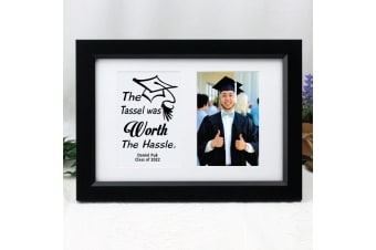 Graduation Photo Frame Typography Print 4x6 Black