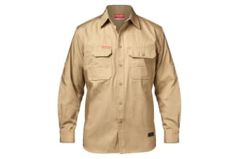 Hard Yakka Men's Legends Long Sleeve Shirt (Khaki, Size 2XL)