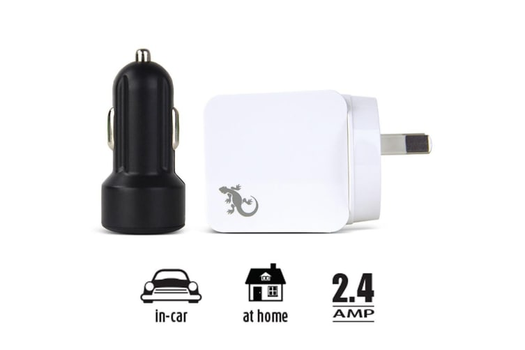 Gecko White AC USB Adapter & Black Car Travel Charger For iPhone/iPad/Smartphone