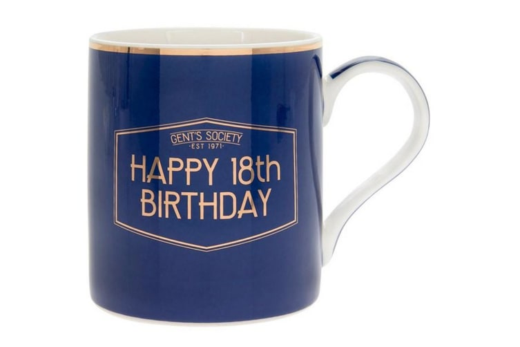 Lesser & Pavey Fine China Gents Society Happy 18th Mug (Blue) (One Size)