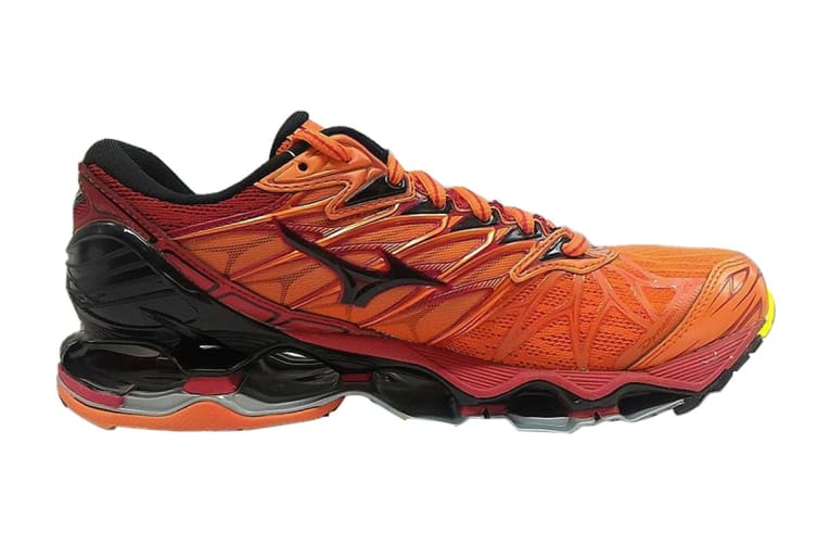 Mizuno Men's WAVE PROPHECY 7 Running Shoe (Flame/Black/Tango Red, Size 9 US)