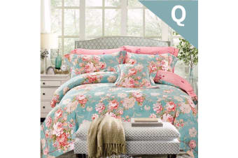 Queen Size Flora Green Design Quilt Cover Set