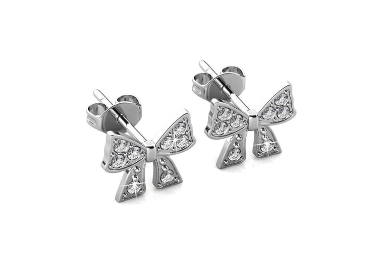 Ribbon Tie Earrings Embellished with Swarovski crystals