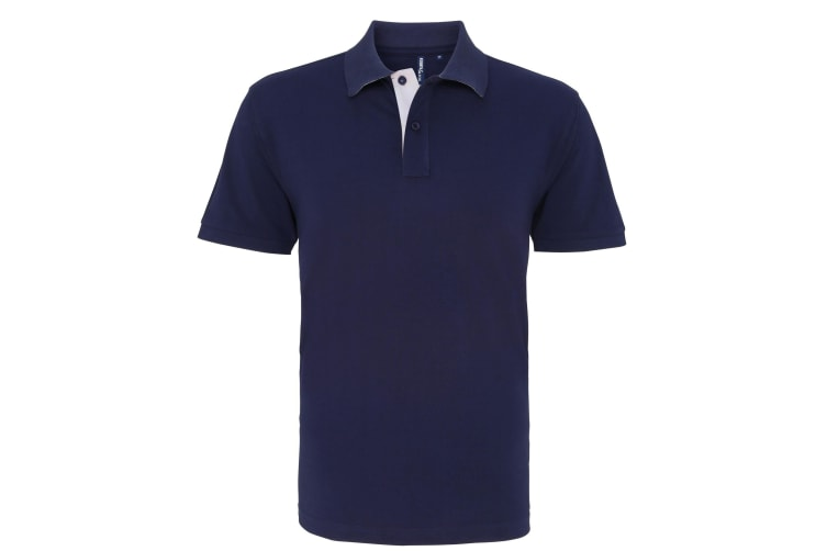 Asquith & Fox Mens Classic Fit Contrast Polo Shirt (Navy/ White) (S)