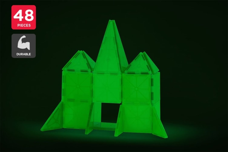 48 Piece Glow In The Dark Magnetic Tile Set