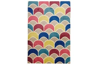 Fish Scale Design Rug Raspberry Blue