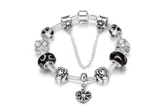 Pandora Inspired Full Set Beaded Charm Bracelet-Silver