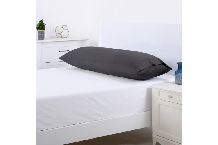Dreamaker 250TC Plain Dyed Body Pillowcase - 150X50cm Charcoal