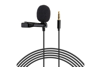 Lavalier Lapel Microphone Omnidirectional Condenser Mic with Easy Clip on System for Recording YouTube, Interview, Video Conference, Podcast