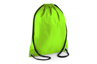 BagBase Budget Water Resistant Sports Gymsac Drawstring Bag (11 Litres) (Lime) (One Size)
