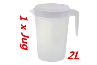 1 x Plastic Pitcher 2L with Lid Beer Water Juice Jugs Jug BPA FREE Dishwasher Safe