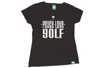 Out Of Bounds Golf Tee - Peace Love Golf - Black Womens T Shirt