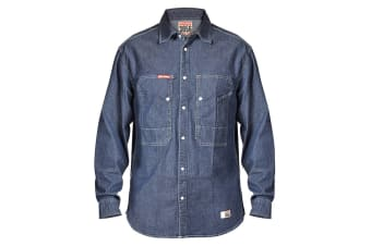 Hard Yakka Men's Denim Long Sleeve Shirt (Indigo, Size S)