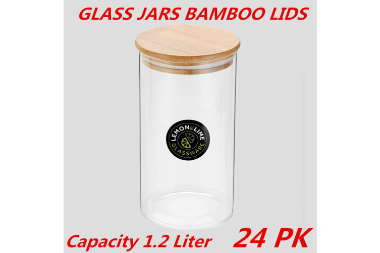 24 x Glass Jar Food Storage Bottles Sealed Cans Bamboo Lid Air Tight Container 1.2L
