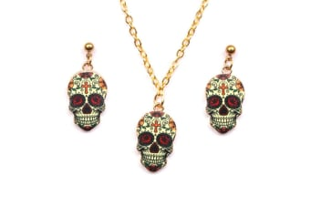 Day of the Dead Dia De Los Muertos Skull Mask Jewelry Set Y000237