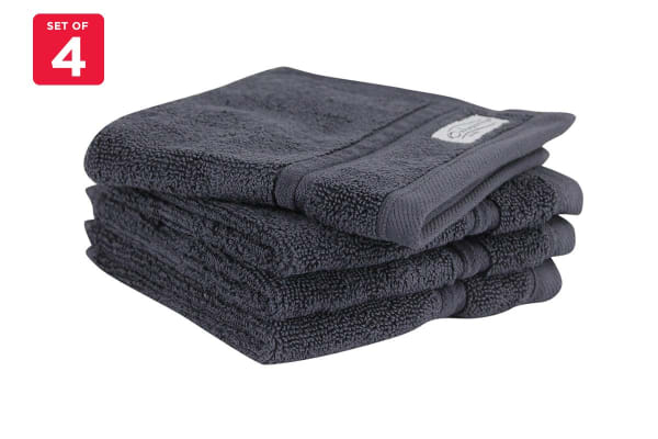 Onkaparinga Ethan 600GSM Face Washer Set of 4 (Charcoal)