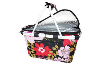 New Sachi Shop & Go Insulated Thermal Cooler Carry Basket W/Lid Floral Blooms
