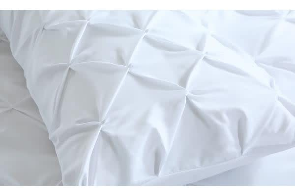 Diamond Pintuck Bed Duvet/Doo/Quilt Cover White King