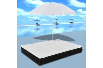 vidaXL Outdoor Lounge Bed with Umbrella Poly Rattan Black