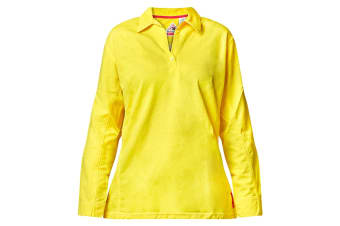 Hard Yakka Women's Bulwark iQ Flame Resistant Hi-Vis Long Sleeve Polo (Yellow, Size XL)