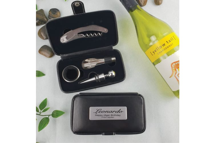 Birthday 4pce Wine Bottle Accessory Set with Personalised Case