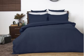 Ardor Boudoir Quilted Quilt Cover Set (Queen, Navy)