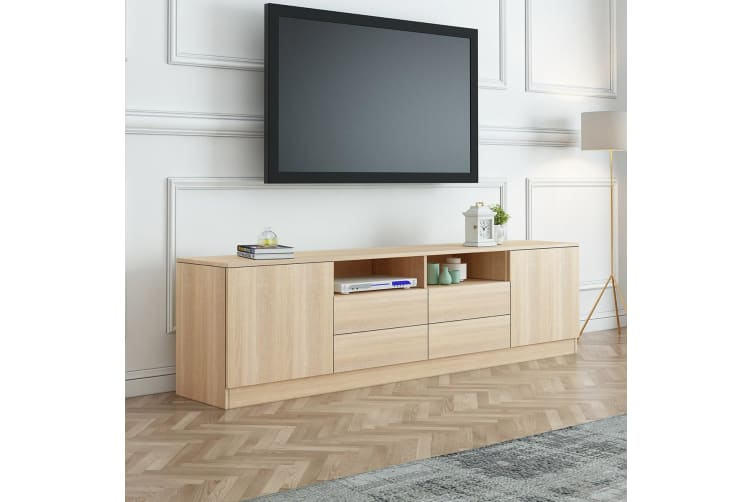 180cm Oak TV Stand Wood Entertainment Unit with Storage Drawers and Cabinets