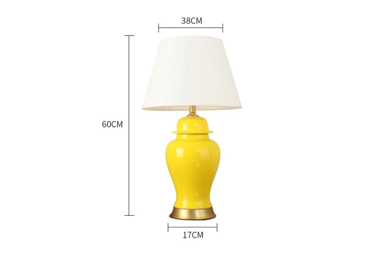 SOGA Oval Ceramic Table Lamp with Gold Metal Base Desk Lamp Yellow
