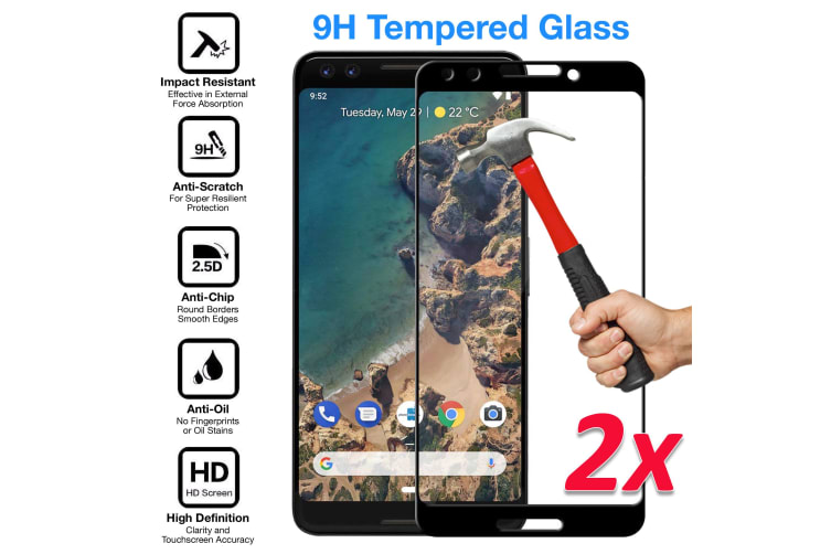 [2 Pack] Google Pixel 3 Tempered Glass Full Coverage Crystal Clear Premium 3D Edge 9H HD Screen Protector by MEZON (Pixel 3, 5D)