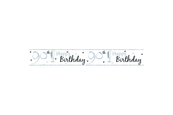 Simon Elvin Happy 90th Birthday Foil Banner (White/Black) (One Size)