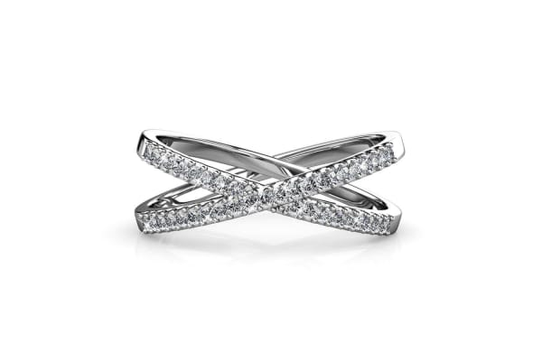 Synergy Ring w/Swarovski Crystals-White Gold/Clear Size US 8