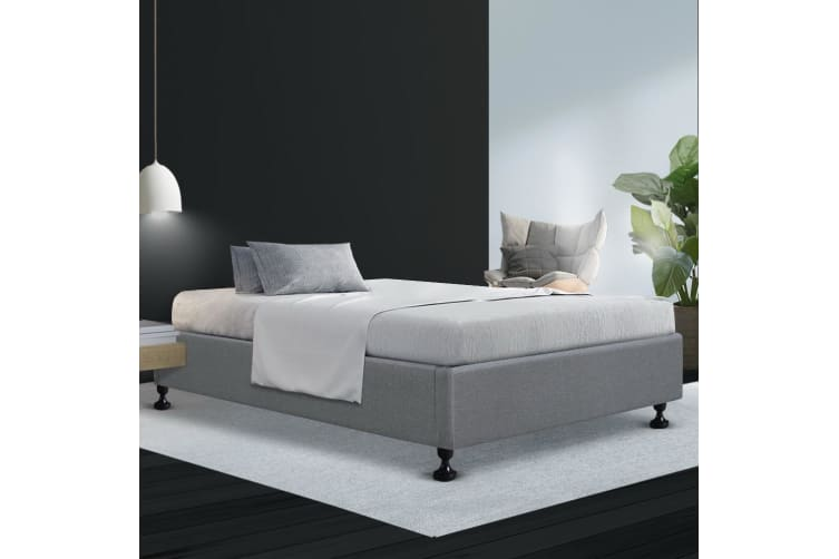 Artiss King Single Size Bed Base Frame Mattress Platform Fabric Wooden Grey TOMI