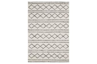 Milly Textured Woollen Rug White Grey