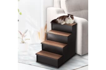 Wooden 4 Steps Dog Cat Stairs Pet Ramp Folding Doggy Ladder